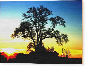 Wood Print featuring the photograph Lone Tree At Sunrise by George Bostian