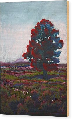 Lone Tree Wood Print by Drusilla Montemayor