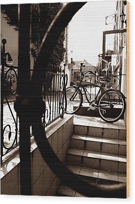 Lonely Bike Wood Print by Birut Ces