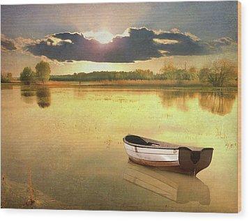 Lonely Boat Wood Print by JimPix