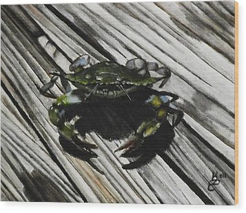 Lonely Crab Wood Print by Kim Selig