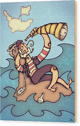 Lonely Pirate Wood Print by Autogiro Illustration