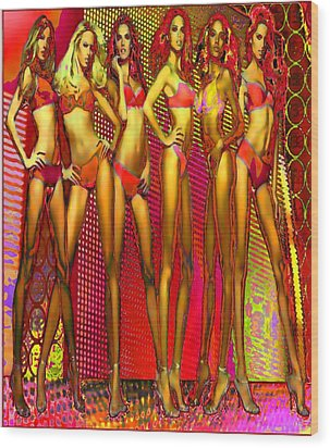 Long Legged Blonds And Redheads Wood Print by Rod Saavedra-Ferrere