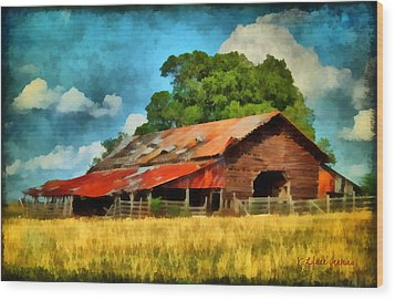 Long Road Barn Wood Print by Lynne Jenkins