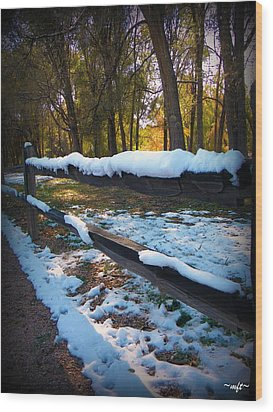 Wood Print featuring the photograph Long Snow Fence by Michelle Frizzell-Thompson