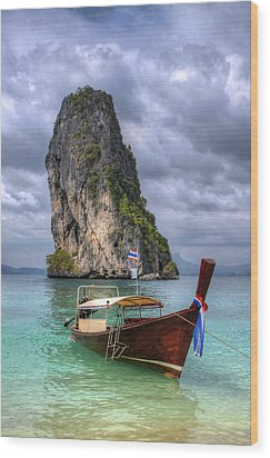 Long Tail Boat Wood Print by Anik Messier