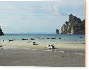 Long Tail Boats In Bay Of Phi Phi, Thailand Wood Print by Thepurpledoor