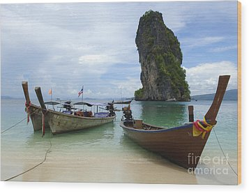 Long Tail Boats Thailand Wood Print by Bob Christopher