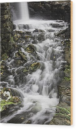 Wood Print featuring the photograph Longfellow Grist Mill Waterfall by Betty Denise