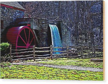 Longfellow's Wayside Gristmill Painting 2 Wood Print by Earl Jackson