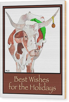 Longhorn Christmas Wood Print by Marla Saville