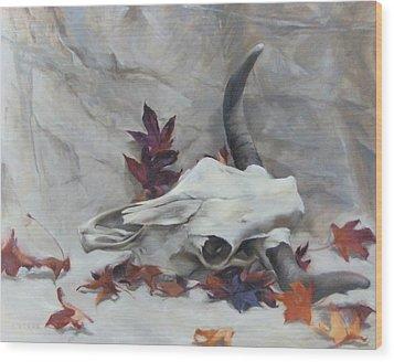 Longhorn With Leaves Wood Print
