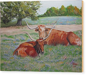 Wood Print featuring the painting Longhorns In Bluebonnet Field by Jimmie Bartlett