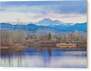Longs Peak And Mt Meeker Sunrise At Golden Ponds Wood Print by James BO  Insogna