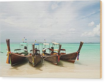 Longtail Boats At Phi Phi Island, Thailand Wood Print by Melissa Tse