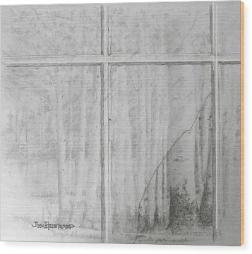 Wood Print featuring the drawing Lookiing Through by Jim Hubbard
