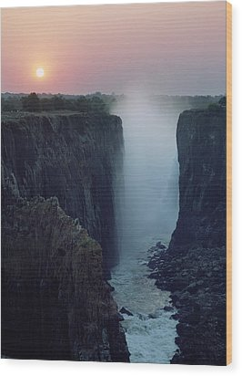 Looking Along Victoria Falls At Dusk Wood Print by Axiom Photographic