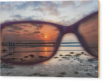Looking At Life Through Rose Colored Glasses Wood Print by Sonny Marcyan