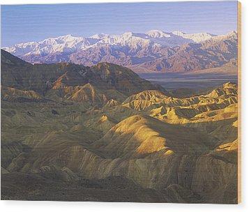 Looking At Panamint Range Wood Print by Tim Fitzharris