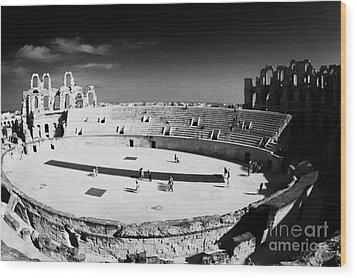 Looking Down On Main Arena Of Old Roman Colloseum El Jem Tunisia Wood Print by Joe Fox