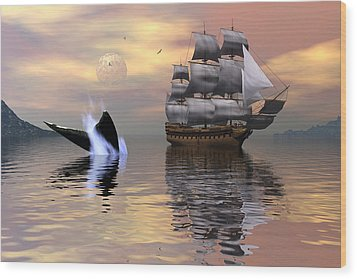 Looking For Moby Dick Wood Print by Claude McCoy