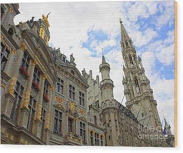 Looking Up At The Grand Place Wood Print by Carol Groenen