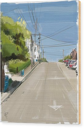 Looking Up Dolores Street Wood Print by Russell Pierce