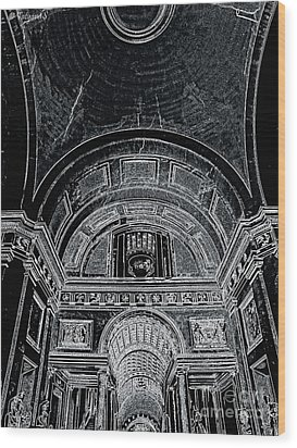 Looking Up. Vatican. Black Wood Print by Tanya  Searcy