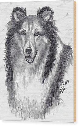 Wood Print featuring the drawing Looks Like Lassie by Julie Brugh Riffey