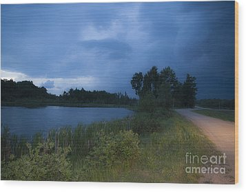 Looming Alberta Storm Wood Print by Darcy Michaelchuk
