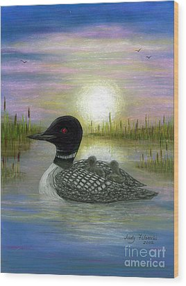Wood Print featuring the painting Loon Babies On Mother's Back Judy Filarecki by Judy Filarecki