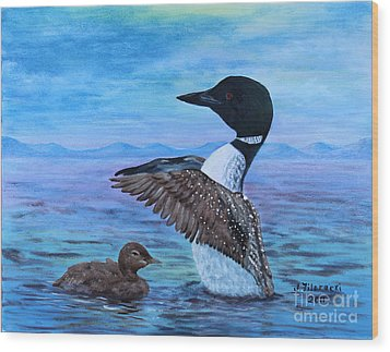 Wood Print featuring the painting Loon Mother And Baby by Judy Filarecki