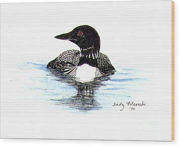 Wood Print featuring the painting Loon Swim Judy Filarecki Watercolor by Judy Filarecki