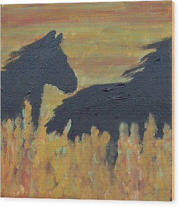 Wood Print featuring the painting Loose by Krista Ouellette