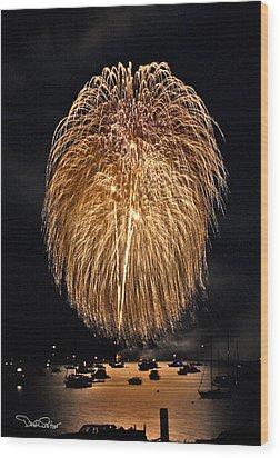 Lopez Island Fireworks 1 Wood Print by David Salter