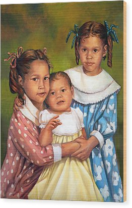 Wood Print featuring the painting Loretta And Her Sisters by Nancy Tilles