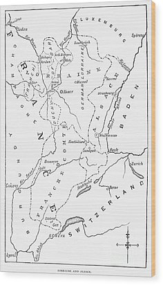 Lorraine And Alsace: Map Wood Print by Granger