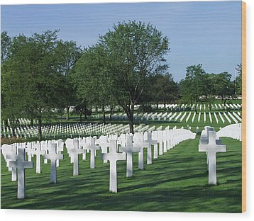 Lorraine Wwii American Cemetery St Avold France Wood Print by Joseph Hendrix