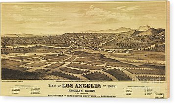 Los Angeles From The East Wood Print by Pg Reproductions