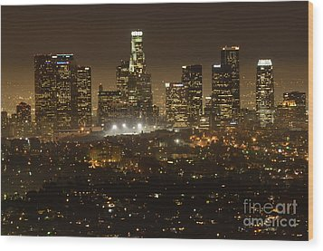 Los Angeles Skyline At Night Wood Print by Bob Christopher
