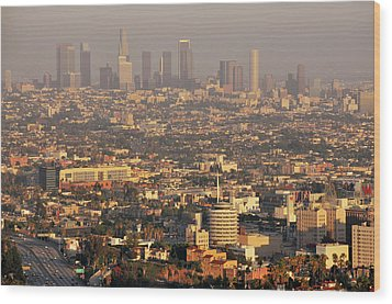 Los Angeles Skyline Wood Print by Photo by Seattle Dredge
