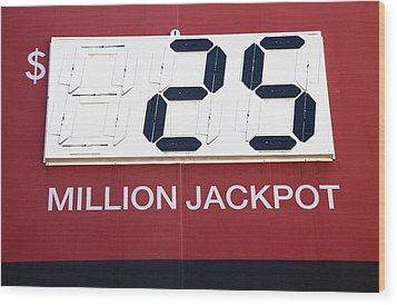 Lottery Sign With Winning Value Wood Print by Nathan Griffith