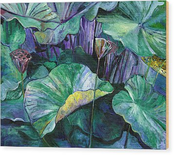 Lotus Pond Wood Print by Carol Mangano