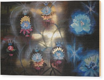 Wood Print featuring the mixed media Lotuses In Muddy Waters by Diana Riukas