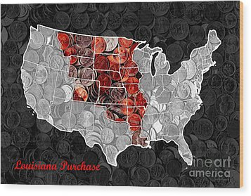 Louisiana Purchase Coin Map . V1 Wood Print by Wingsdomain Art and Photography