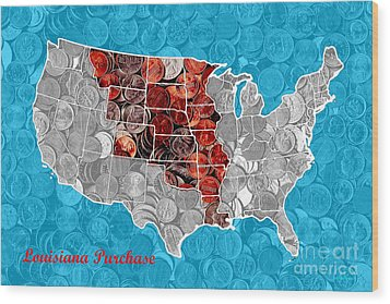Louisiana Purchase Coin Map . V2 Wood Print by Wingsdomain Art and Photography