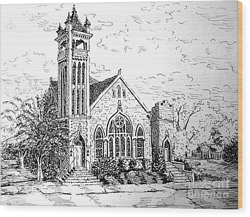 Wood Print featuring the drawing Louisianna Church 1 by Gretchen Allen