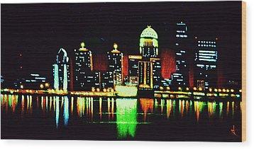 Louisville In Black Light Wood Print by Thomas Kolendra