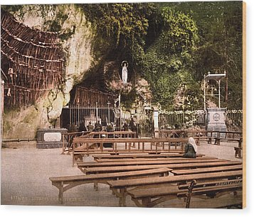 Lourdes, France, The Grotto Of Notre Wood Print by Everett