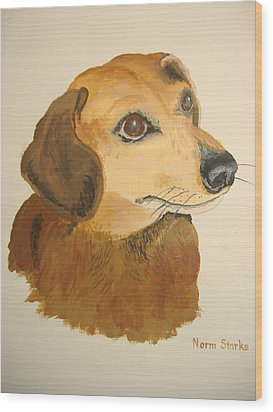 Wood Print featuring the painting Lovable Dachshund by Norm Starks